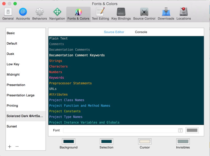 Xcode modify color theme